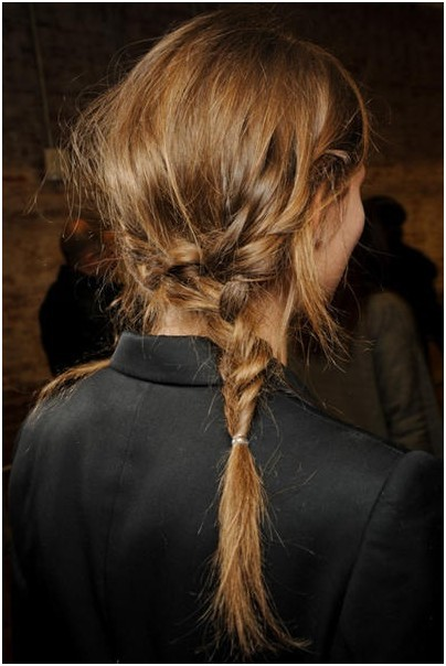 Messy Asymmetrical Braid: Low Ponytail