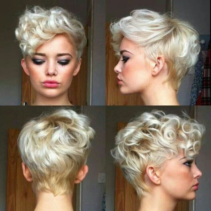 Most Popular Hairstyles for Summer: Blonde Short Curly Haircut / Via