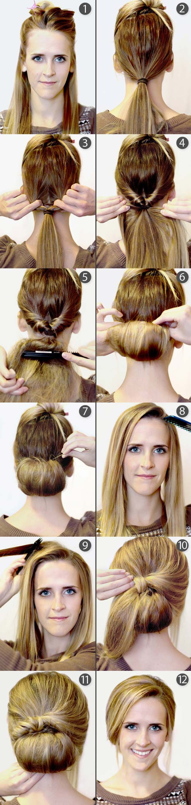 Hairstyles Step By Step 10 quick and easy hairstyles step by step braid hair tutorials braid hair and tutorials Retro Bouffant Bun Updos Tutorial