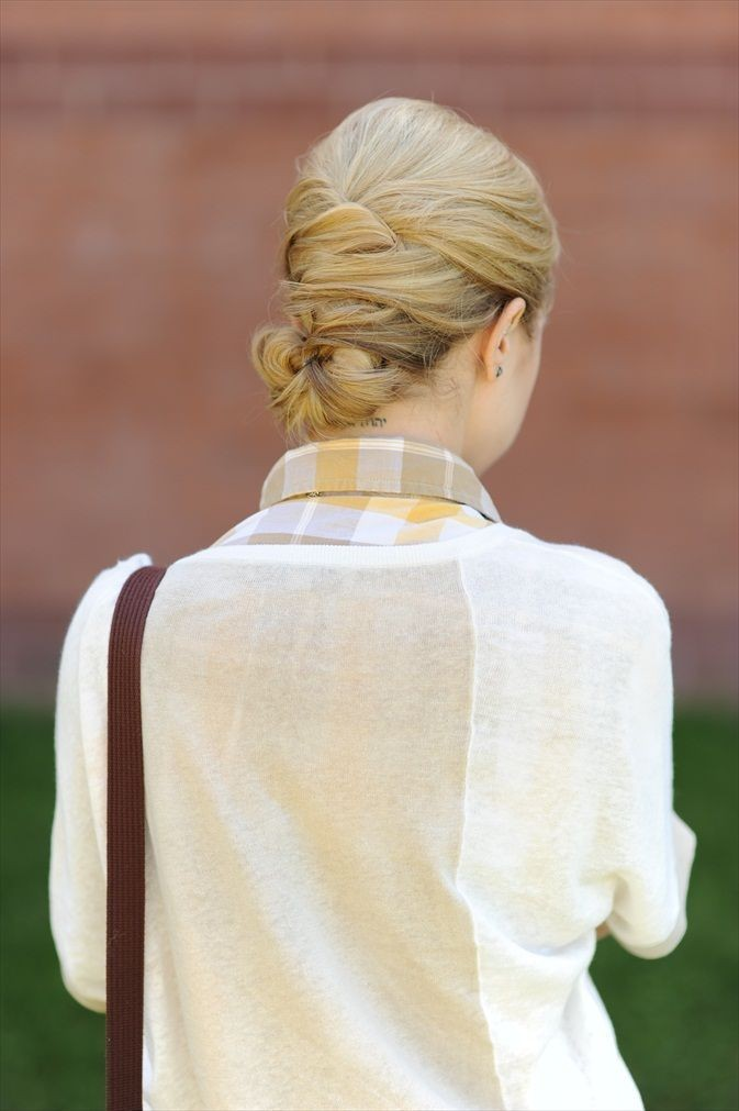 Simple Office Hairstyles for Women: Woven Low Bun Hairstyle