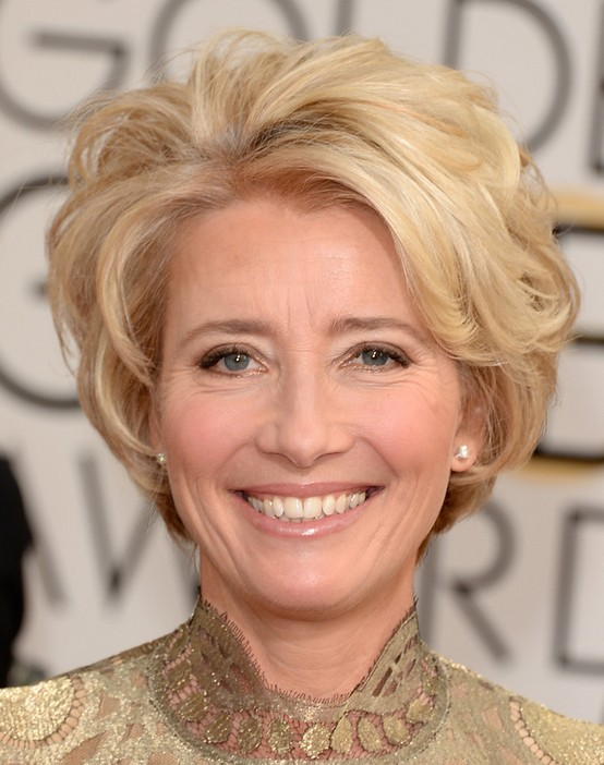 Blonde Short Wavy Hairstyles for Older Women: Emma Thompson Haircut