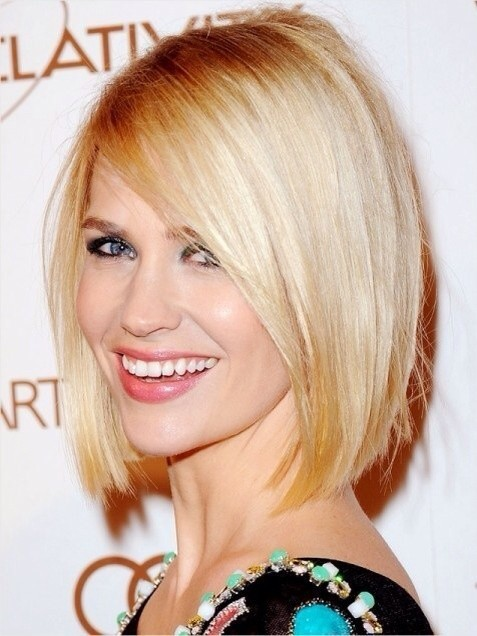 Blunt Short Bob Haircuts For Long Face January Jones Blonde Hair
