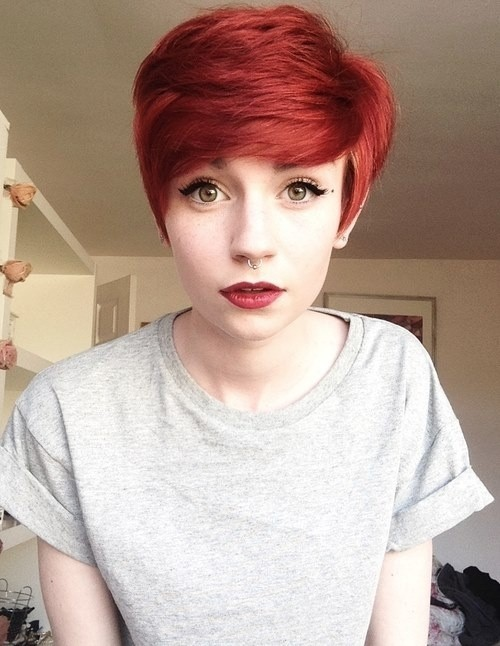 Chic Red Pixie Haircut with Side Swept Bangs