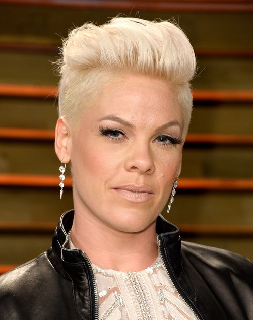 Cool Short Fauxhawk Hairstyles for Older Women: Pink Haircut
