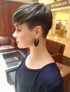 Easy Brown Pixie Haircut with Green Highlights