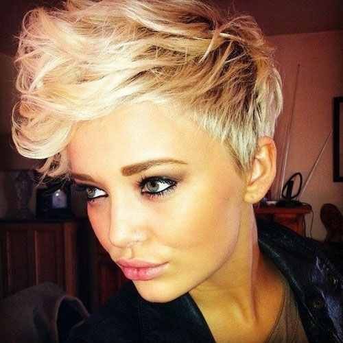 Pixie Haircut with Side Long Bangs: Blonde Short Hair