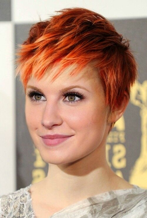 Straight Layered Pixie Haircut: Chic Red Short Hairstyle