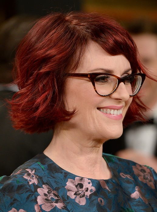 Trendy Short Wavy Hairstyles for Older Women: Megan Mullally Red Hair