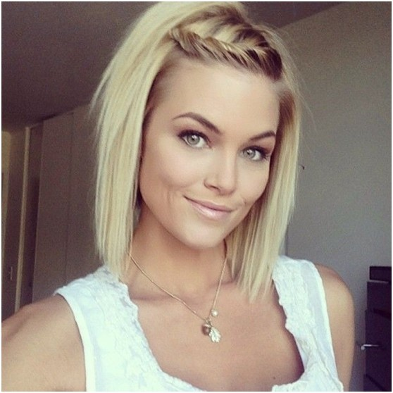 Blonde Short Bob Hairstyles with Braid Bangs