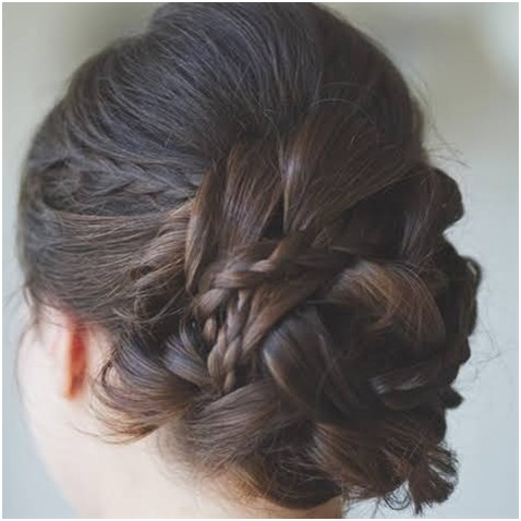 Bun Updos with Cute braids: Back View