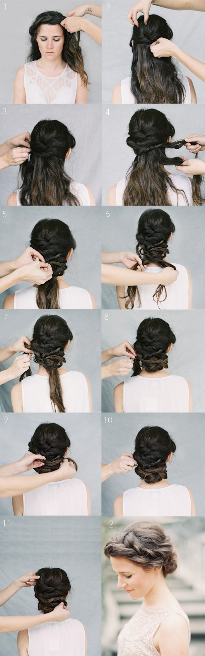 Crown Braid Chignon Tutorial: Wedding Hairstyles
