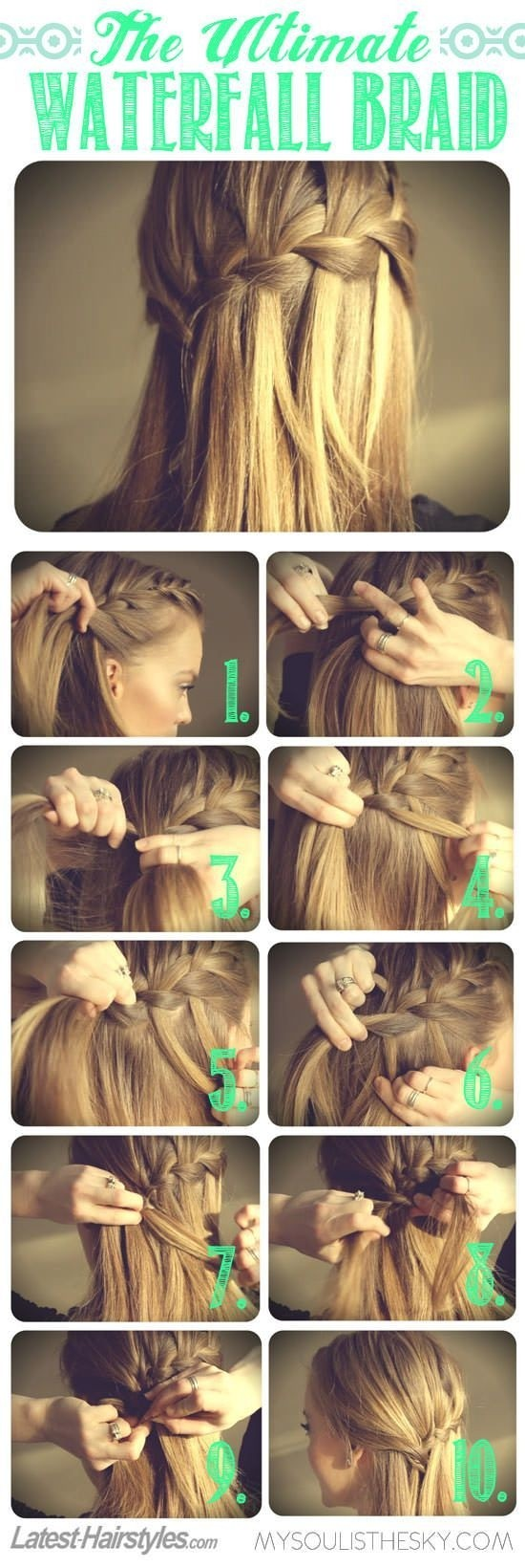 How to Waterfall Braid Hair Step By Step
