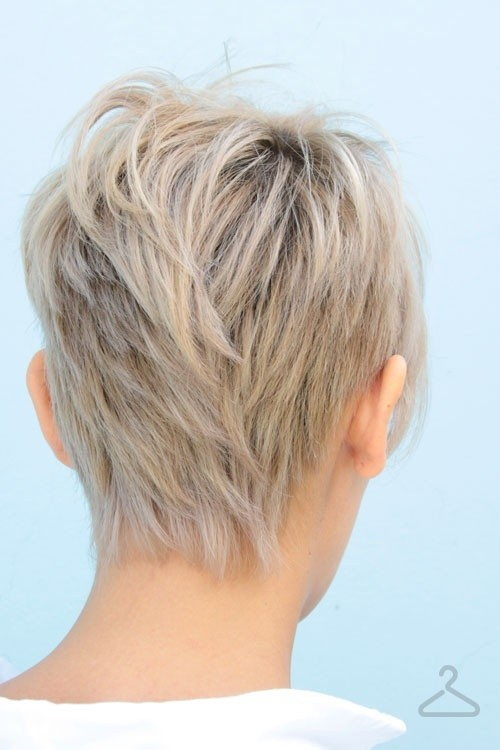Layered Pixie Haircut Back View: Straight Short Hair