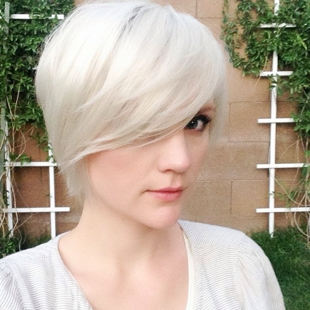 Short haircut with long bangs