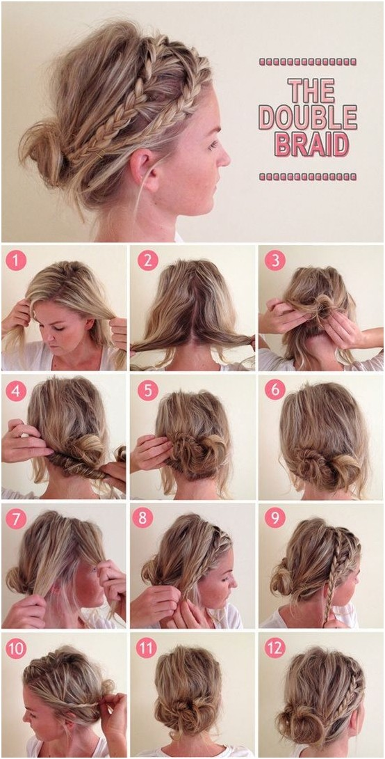 Messy Low Bun with Double Braid: Hairstyles Tutorials