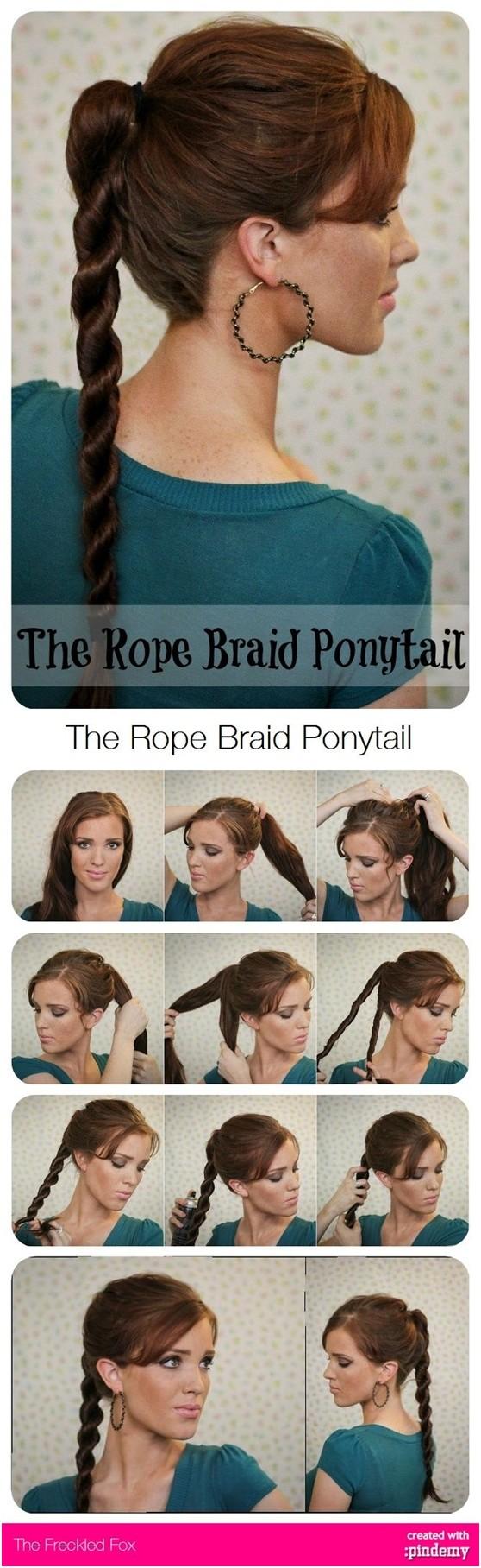 Rope Ponytail Hairstyles Tutorial