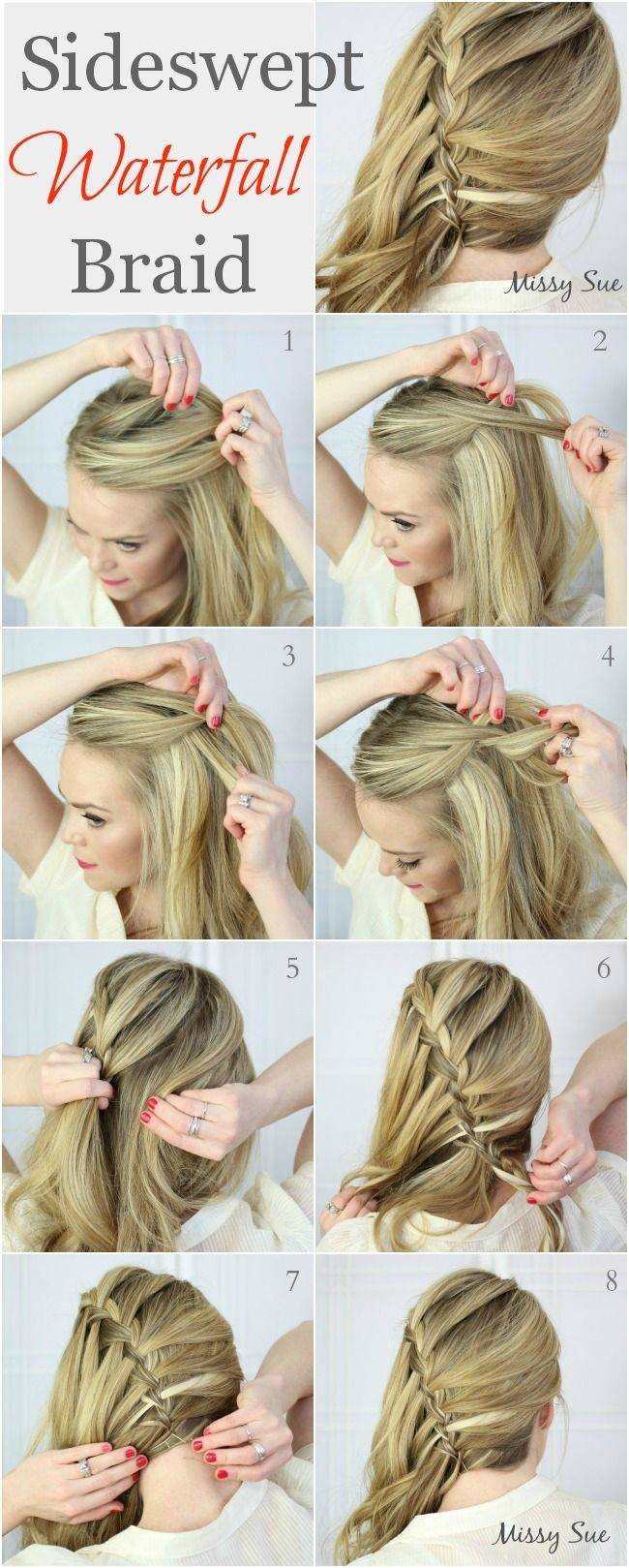 Side Swept Waterfall Braid Hairstyles Tutorial