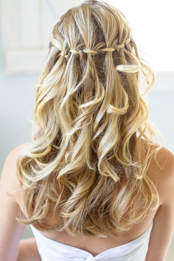 Waterfall Braid with Curls for Prom