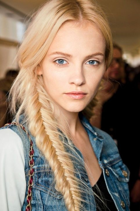 Blonde Messy Fishtail Braided Hairstyles