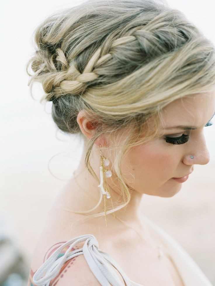 Hair Up Dos : Side Braided Updo Hairstyle: Easy Summer Hair Styles / Via