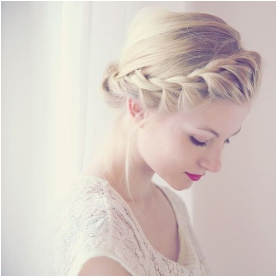 Chic Braids Updo Hairstyle for Heart Face