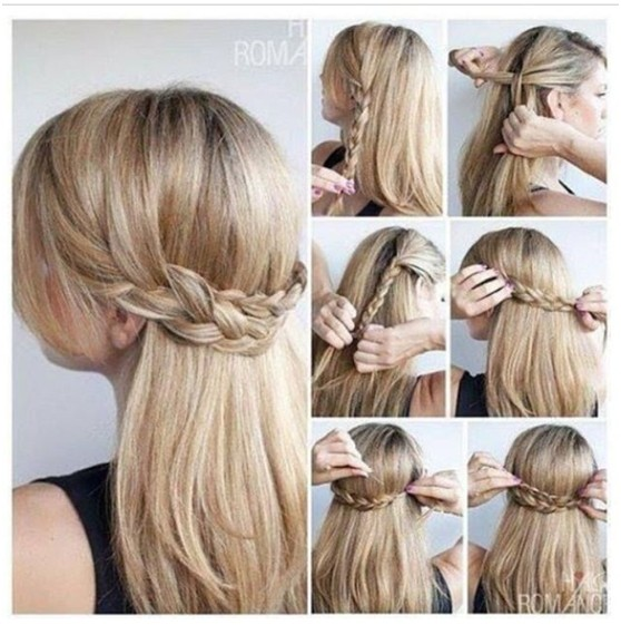 Nettes Half Up Braid Frisuren Tutorial: Ideen für langes glattes Haar 2014-2015
