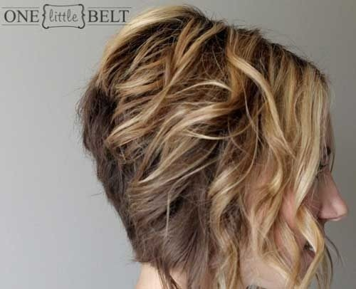 Graduated Curly Bob Hairstyles Side View