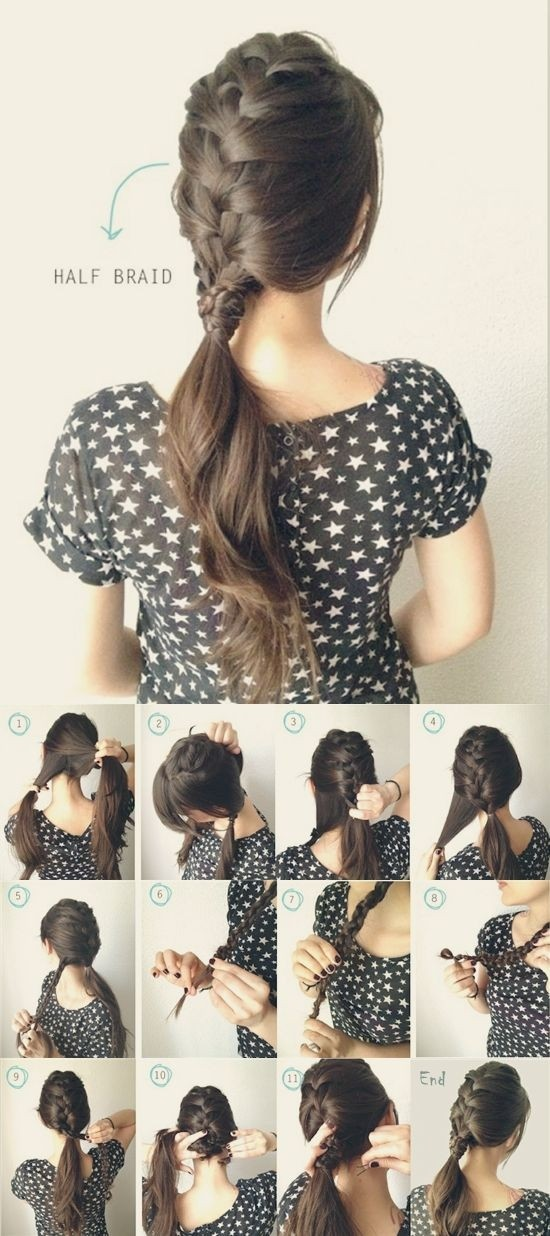 Half French Braided Ponytail Tutorial
