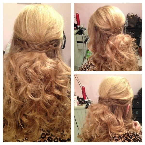 Half Up Braid and Curls: Long Curly Hairstyles Ideas for Prom