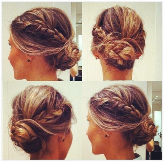 Messy Braided Bun Updo Hairstyle Side And Back View