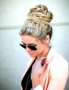 Messy Updo with Fishtail Braid: Holiday Hairstyles