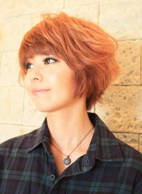 Asian Short Hairstyles with Blunt Bangs