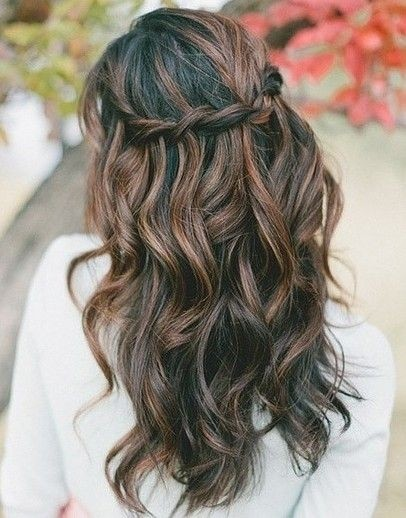 Chic with Tousled Waves and Waterfall Braid