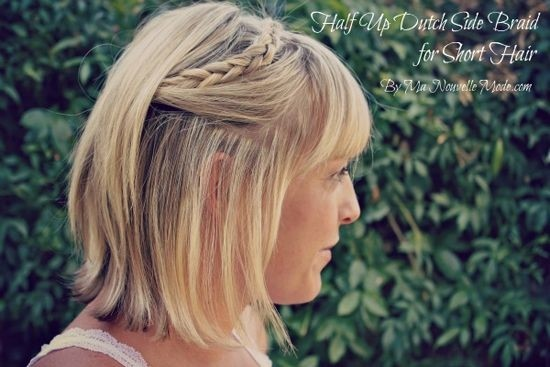 Half Up Dutch Side Braid for Short Hair