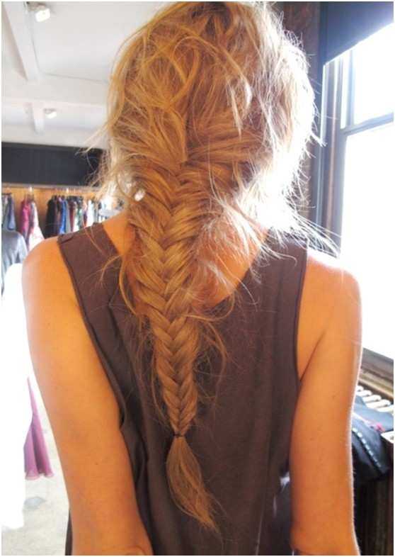 Messy Braided Hairstyles for Long Hair: French Fishtail Braid Bcak View