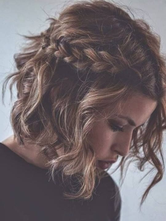 Messy Hairstyles for Short Wavy Hair: Short Hair with Braids / Via
