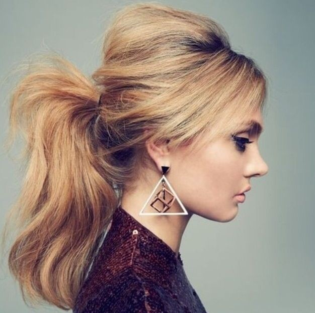 Messy Ponytail with Bump and Side Bangs
