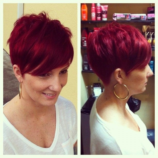Red Pixie Haircut for Women: Side View
