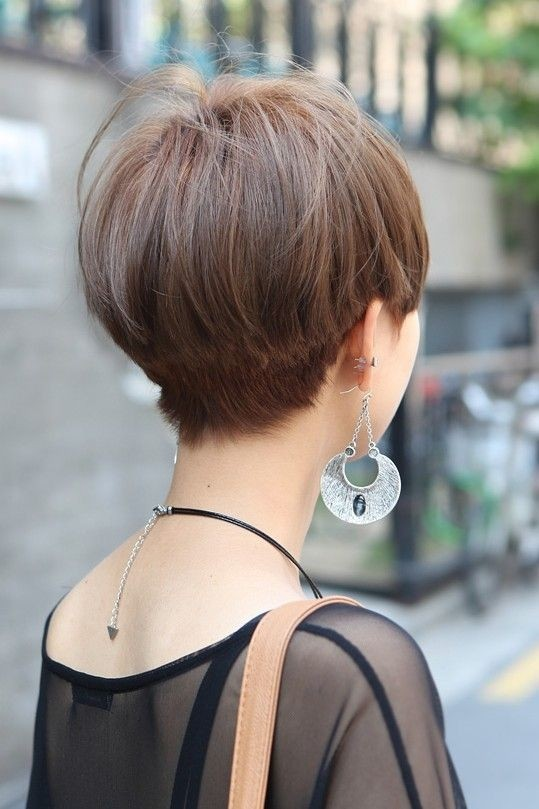 Short Straight Haircut for Asian Women: Back View of Asian Bowl Cut