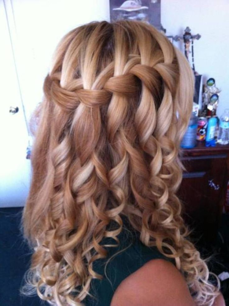 waterfall braid with curls wedding hairstyle