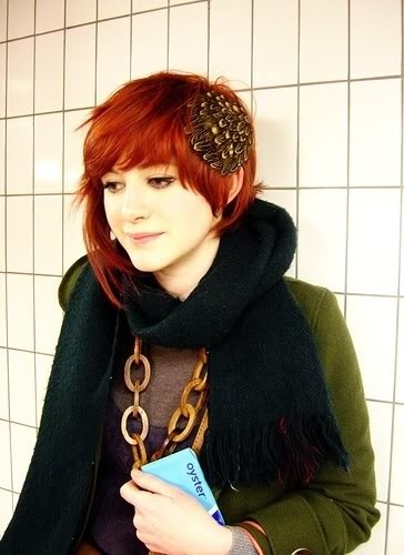 Asymmetrical Red Short Hair