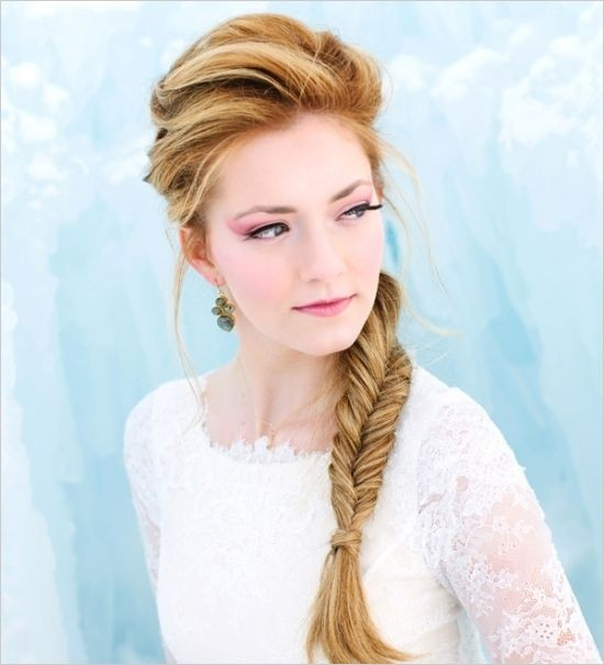 Bridesmaids Hairstyle Ideas: Side Fishtail Braid