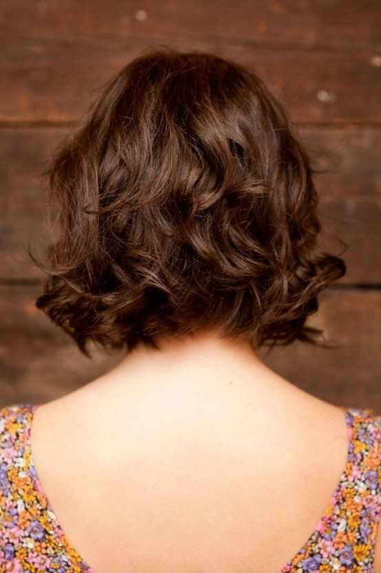 Brown Wavy Bob Hairstyle Back View