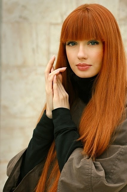 Cute Hairstyles: Long Straight Hair with Blunt Bangs