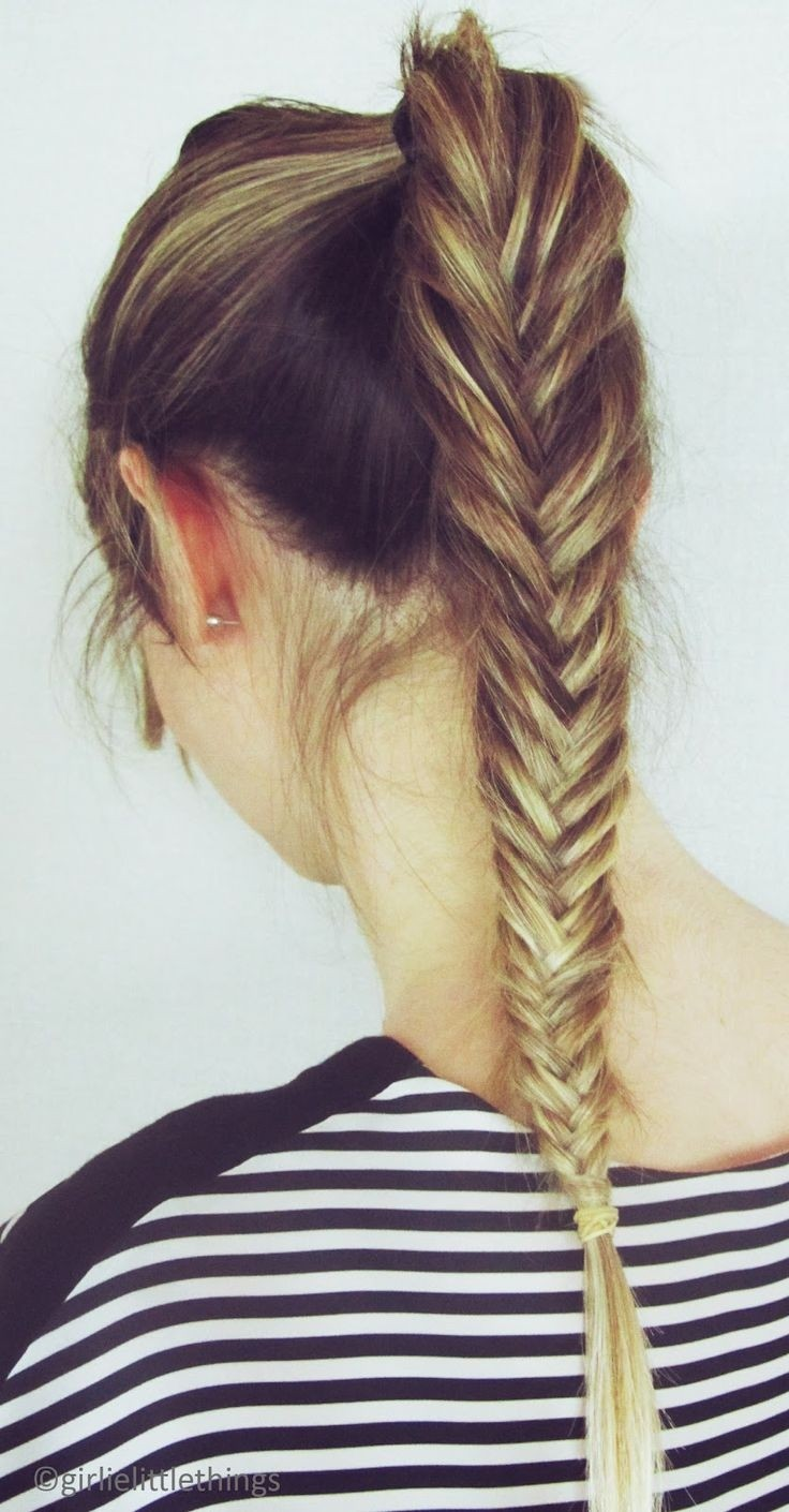 Cute Hairstyles for Long Hair: French Fishtail Braid Ponytail