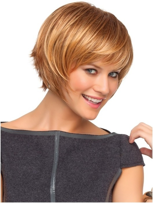 Cute Short Blonde Hair with Side Swept Bangs