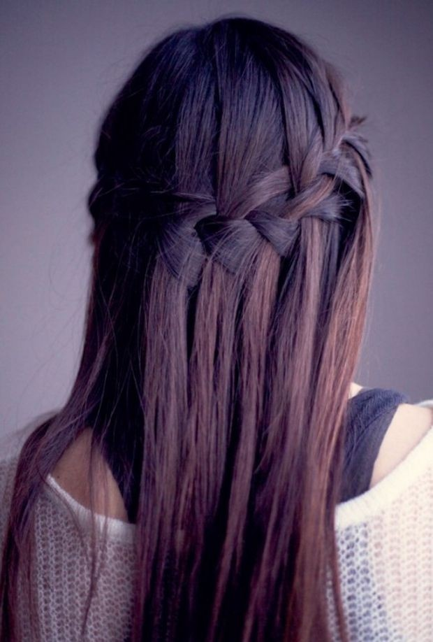 Easy Waterfall Braiding Easy Waterfall Braiding. Pretty Long Hair Style  /Via. Pretty Long Hair Style