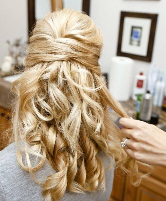 Half Up Down Hairstyles For Curly Hair Great Bridesmaid Hairstyle Idea