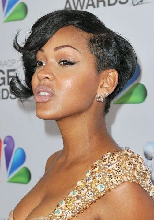 Meagan Good Wavy Hairstyle With Bangs Male Models Picture