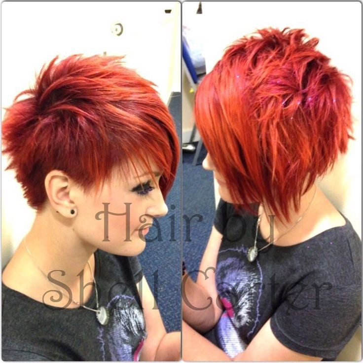 Red Short Spikey Hairstyle Girls Haircuts Popular Haircuts